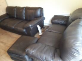 Brown Leather Sofa (3 x 2 + footstool)