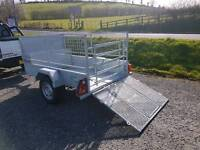 TYPE APPROVED Galvanised 7x4 sheep trailer very strong trailer spare gates jockey leds lock