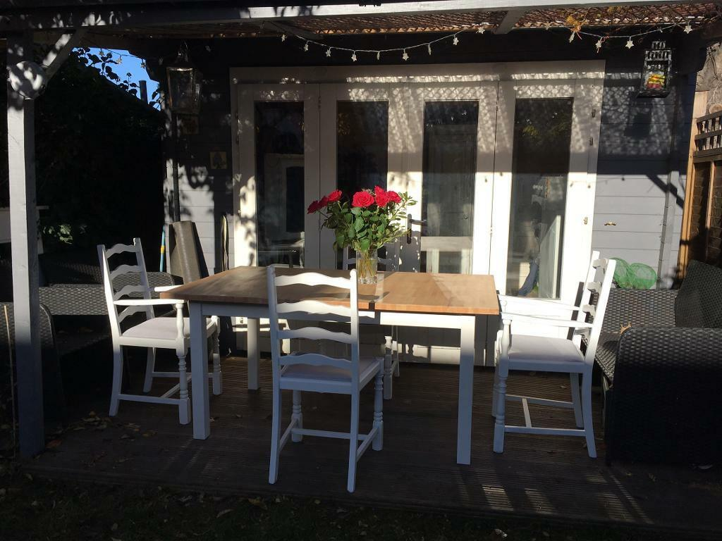 Shabby chic extendable pine table and chairs £260