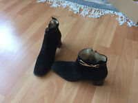 Women high heel ankle suede boots european size 36.5 black