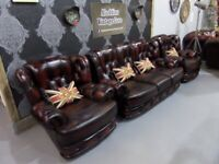 Immaculate Refurbed Saxon Chesterfield 3 Seater Sofa & 2 Chairs in Oxblood Leather - UK Delivery