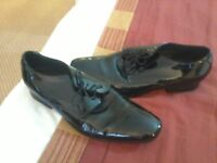 BLACK PATENT EVENING DRESS SHOES / MOSS BROS / WORN ONCE/ UK SIZE 10 / COST £120 / PERFECT CONDITION