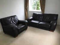 Comfy brown leather 2 seat sofa and single seat arm chair