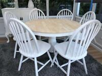 Lovely Shabby Chic Oak Table and 6 Chairs