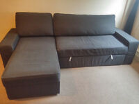Sofa bed with chaise longue VILASUND Dansbo dark grey