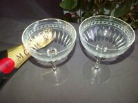 Antique vintage 19th century champagne glasses and early 20th century Edwardian sherry glasses