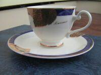 BNIB Kansai Fine China 5 Tea Cup & Saucer Set Blue/Gold
