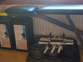 Weights Bench and approx 80kg of weights