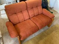 Ekornes Montana two seater Mid Century Solid teak sofa - Red/Orange Vintage CAN DELIVER