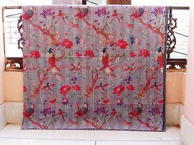 Kantha Quilt Indian Handmade Blanket Cotton King Size Bedspread Bird Gray Crazy