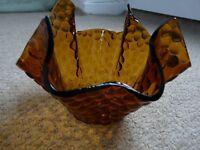 1960s Retro Vintage Amber Hammered Glass Handkerchief Bowl/Vase