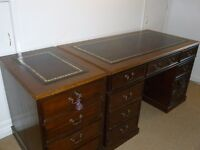 Pedestal Desk, medium/dark oak -like wood , burgundy leather inlaid top with matching Filing Cabinet