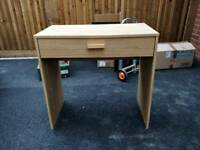 Small desk / dressing table with drawer - beech effect wood
