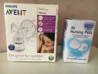Avent Manual Breast Pump & Unopened Box of Breast Pads