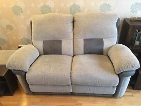 Grey reclining sofa, chair & storage foot stool