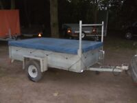 GALVANISED 6-6 X 4-0 DROPTAIL GOODS TRAILER WITH LADDER RACK & COVER..