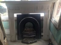 Cast iron fireplace, surround and mantlepiece