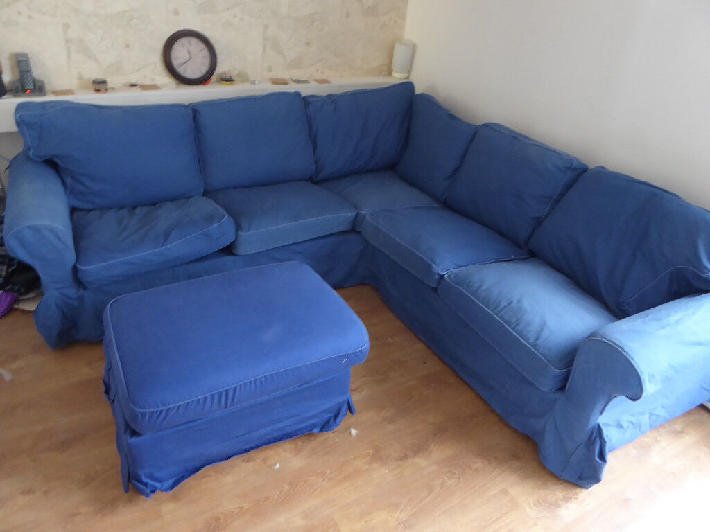 Ikea Rp 2 4 Seat Corner L Shaped Sofa With Blue Cover Plus