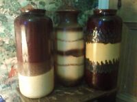 3 x VINTAGE WEST GERMAN VASES. EACH 16 INCHES HIGH