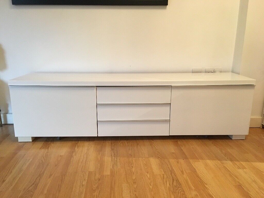 TV Bench High-gloss white - Excellent condition