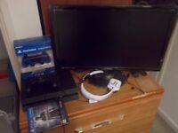 "PS4 500GB Black, 24"" Monitor, Extra Controller, Headset, Uncharted 4"