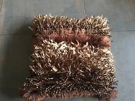 Brown shaggy cushions Dunelm mill brand new x 4
