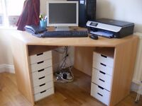 Light wood Computer desk and 2 storage drawers with 6 drawers each