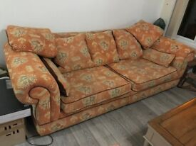 2 beautiful large sofas. A 3 seater with 6 cushions. And a 4 seater with 7 cushions. £250 each.