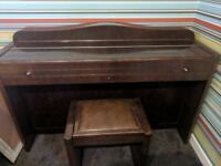 1930s Eavestaff minipiano pianette piano with original stool