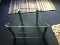 PENTAGON GLASS AND SILVER POLE TRIM TV TABLE