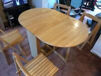 Fold Away Dining Table + 4 Chairs