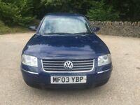 Volkswagen Passat se tdi Turbo Diesel 1.9cc 100bhp 4 door saloon 03/2003 2 former keepers 128k part