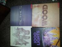 Chris Lefteri Books x3 Plastics, Metal, Wood. Lighting Taschen. (Art)Design books