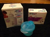 Avent Electric Bottle Warmer, 2 Avent 4oz Baby Bottles & Philips Avent Milk Powder Dispenser - VGC