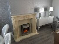 Marble effect fire place