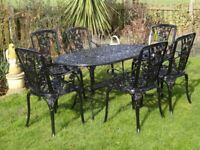 GARDEN FURNITURE SET - TABLE AND 6 CHAIRS - CAST ALUMINIUM -