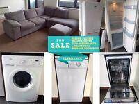 White goods + sofa (fridge-freezer, washer-dryer, slim-dishwasher, L-shape sofa + storage footstool)