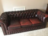 Vintage Leather Chesterfield, Sofa,Chair, stool, and rocker