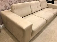 Faux suede beige solid quality sofa