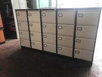 Beige & Brown Metal Filing Cabinets