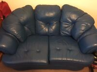 Two seater Leather Blue Sofa