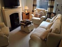 3 Piece Suite in cream fabric with matching foot stool