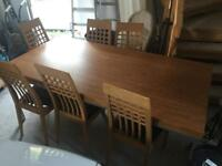 Wooden Beach Dining Kitchen Table and Leather Chairs