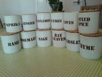12 Ironstone Pottery Jars for Herb and Spice storage - like new