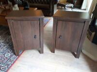 Mahogany coloured bedside cabinets