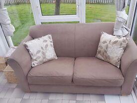 2 x mocha coloured sofas