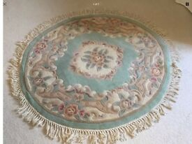 Circular Chinese Wool Rug 45 inch diameter Green Gold Lilac Pink colouring