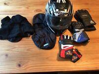 Motor bike helmet XL with accessories
