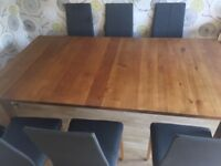 Barker and stonehouse dining table and 6 slate grey chairs
