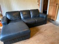3 seater black leather Chaise lounge style with recliner